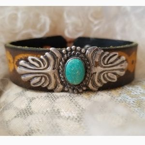 Jewelry - Fred Harvey Navajo turquoise Sterling leather cuff